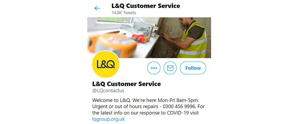 L&Q Customer Service Twitter mobile view
