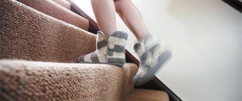 Child walking up stairs
